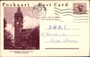 Ganzsachen Ak Pietermaritzburg Südafrika, Stadsaal, City Hall