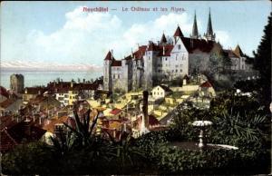 Ak Neuchâtel Kanton Neuenburg, Le Chateau et les Alpes