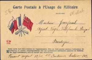 Ak Französische Feldpostkarte, Flaggen der Alliierten, I. WK