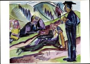 Künstler Ak Kirchner, E., L., Abstraktes Bild, Frau ruht sich aus