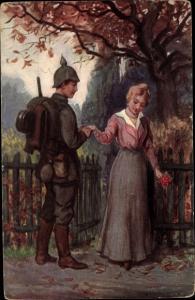 Künstler Ak Zieges, W., Abschied, Soldat, Frau, Soldatenliebe