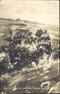 Künstler Ak Kavalleriepatrouille, feindliches Flugzeug beschlagnahmend, I. WK