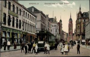 Ak Krefeld am Niederrhein, Rheinstraße, Cafe Bristol, Straßenbahn