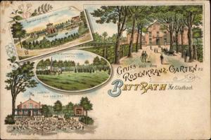 Litho Bettrath Mönchengladbach im Ruhrgebiet, Rosenkranz Garten, Gastwirtschaft