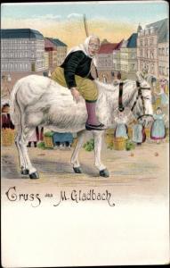 Litho Mönchengladbach im Ruhrgebiet, Marktfrau auf einem Esel
