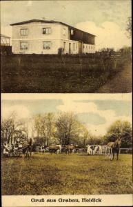Ak Grabau im Kreis Stomarn, Wohnhaus, Pferdekoppel, Kutsche