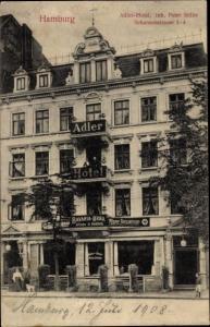 Ak Hamburg Altona Sternschanze, Adler Hotel, Inh. Peter Stilke, Schanzenstraße 2-4