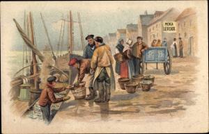 Künstler Ak Reklame, Moka Leroux, Fischer im Hafen