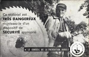 Ak Le Conseil de la Prevention Rurale, Mutualite Agricole, verwundeter Mann, Arbeitsschutz