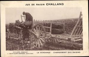 Ak Jus de Raisin Challand, la Vendange, Chargement des Raisins, Reklame