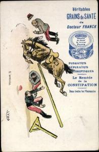 Künstler Ak Grains de Sante du Docteur Franck, Reklame, Pferd springt über Hürde