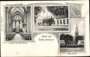 Passepartout Ak Essen in Niedersachsen, Inneres der kath. Kirche, Posthaus, Hotel Diekhaus