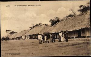 Ak Lisala DR Kongo Zaire, Un coin du camp d'instruction en 1901