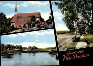 Ak Neu Darchau an der Elbe, Kirche, Flusspartie, Schiff, Birke