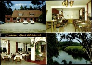 Ak Ankum in Niedersachsen, Gaststätte Haus Waldesruh, Flusspartie