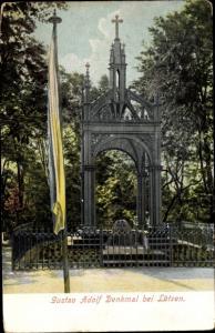 Ak Lützen im Burgenlandkreis, Kapelle und Gustav Adolf Denkmal