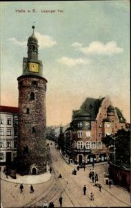 Ak Halle an der Saale, Leipziger Tor, Leipziger Straße