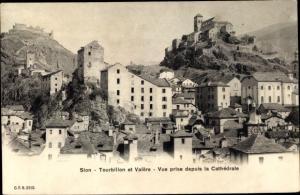 Ak Sion Sitten Wallis Schweiz, Tourbillon et Valère