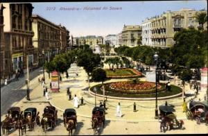 Ak Alexandria Ägypten, Mohamed Ali Square, Kutschen