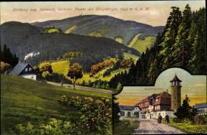 Künstler Ak Falk, G., Klínovec Keilberg Erzgebirge Region Karlsbad, Berg von Südwest, Hotel