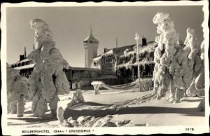 Ak Klínovec Keilberg Erzgebirge Region Karlsbad, Hotel, Außenansicht