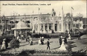 Ak London City England, Royal Pavilion, Franco British Exhibition 1908