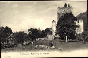 Ak Frutigen Kt Bern, Schlossruine Tellenburg
