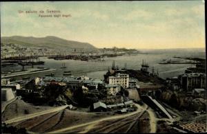 Ak Genova Genua Liguria, Panorama dagli Angeli