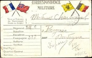 Ak Correspondance Militaire, Fahnen