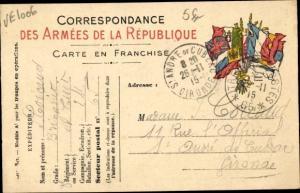 Ak Correspondance des Armees de la Republique, Fahnen