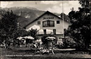 Ak Schönberg im Stubaital in Tirol, Alpengasthof Jägerhof, Gartenterrasse