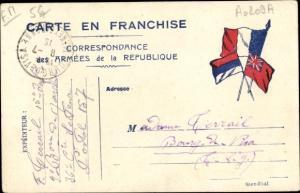 Ak Correspondance des Armées de la Republique, französ. Feldpostkarte, Flaggen der Alliierten I. WK