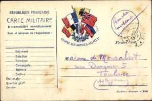 Ak Carte Militaire,  französ. Feldpostkarte, Gloire aux Armées Alliees, Flaggen I. WK