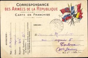Ak Correspondance des Armées de la Republique,  französ. Feldpostkarte, Flaggen der Allierten I. WK