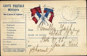 Ak Carte Postale Militaire,  französ. Feldpostkarte, Flaggen der Allierten I. WK
