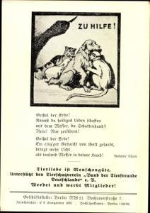 Ak Berlin Tiergarten Moabit, Zu Hilfe, Bund der Tierfreunde Deutschlands e.V., Bochumer Straße 7