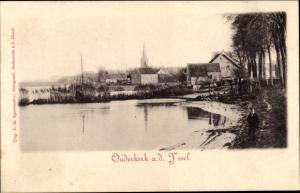 Passepartout Ak Oudekerk a. d. Yssel Südholland Niederlande, Uferpartie