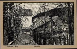 Künstler Ak Gernrode Quedlinburg im Harz, Hagengasse