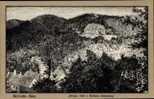 Künstler Ak Gernrode Quedlinburg im Harz, Herzogl. Gast- u. Kurhaus Stubenberg