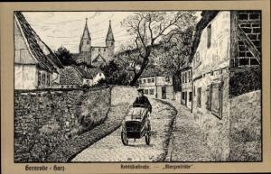 Künstler Ak Gernrode Quedlinburg im Harz, Äbtissinstraße, Morgenfrühe, Postmann