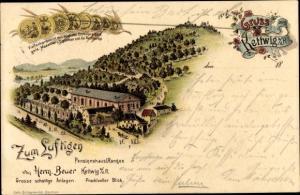 Litho Kettwig Essen im Ruhrgebiet, Zum Luftigen Pensionshaus I Ranges, Panorama, Medaillen