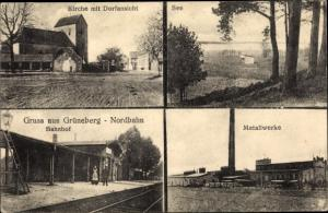Ak Grüneberg Löwenberger Land, Kirche mit Dorfansicht, See, Metallwerke, Nordbahn Bahnhof