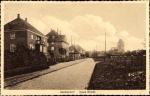 Ak Aschendorf Papenburg im Emsland, Neue Straße, Villen, Kirche im Hintergrund