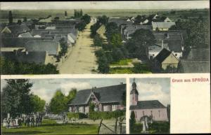 Ak Spröda Sproeda Delitzsch in Sachsen, Totalansicht, Pfarrhaus, Kirche