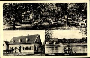 Ak Halle an der Saale, Gasthaus Röpzig, Garten, Außenansicht, Fähre