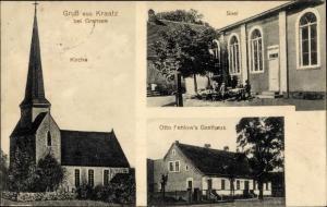 Ak Kraatz Gransee in Brandenburg, Kirche, Saal mit Terrasse, Gasthaus
