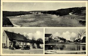 Ak Altgersdorf Märkisch Oderland, Seepartie, Dorfpartie, Restaurant und Kolonialwaren Richard Müller