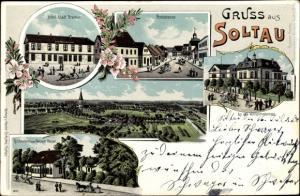 Ak Soltau Lüneburger Heide Niedersachsen, Hotel Stadt Bremen, Poststraße, Panorama, Restaurant