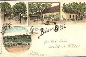 Litho Achim bei Bremen, Restauration vom Badener Berge, Terrassenansicht, Flusspartie