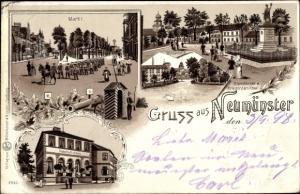Litho Neumünster in Holstein, Markt, Kleinflecken, Mühlenteich, Bahnhofshotel, Kriegerdenkmal